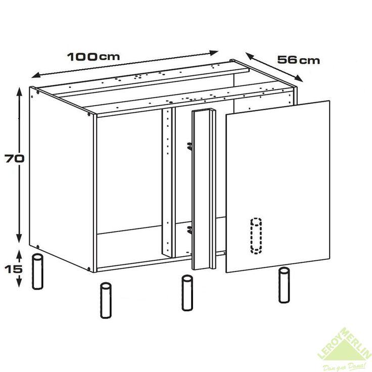 Каркас напольный угловой, 100х56х70 см, белый, ЛДСП, Корпуса кухонных шкафов - Каталог Леруа Мерлен