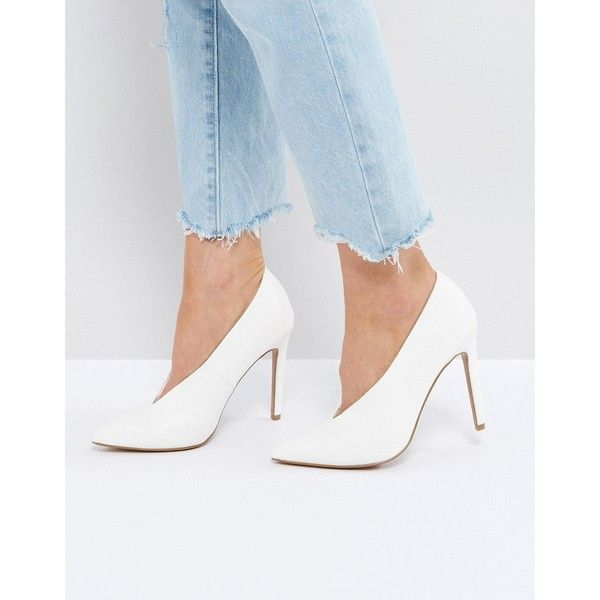 ASOS PRIORITY High Heels (61 CAD) ❤ liked on Polyvore featuring shoes, pumps, white, slip on shoes, white high heel pumps, pointed toe high heel pumps, slip-on shoes and pointed toe shoes