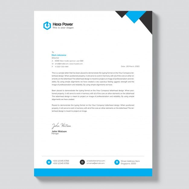 Blue Corporate Letterhead Design Free Psd File Download: Letterhead Mockup With Blue And Black Shapes