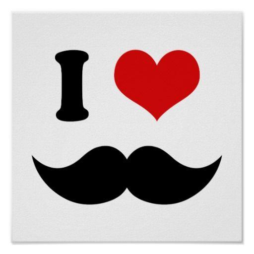I Heart I Love Black Mustache Posters