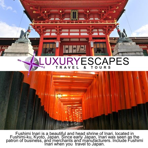 Fushimi Inari is a beautiful and head shrine of Inari, located in Fushimi-ku, Kyoto, Japan. Since early Japan, Inari was seen as the patron of business, and merchants and manufacturers. Include Fushimi Inari when you travel to Japan. www.luxuryescapes.co.za.
