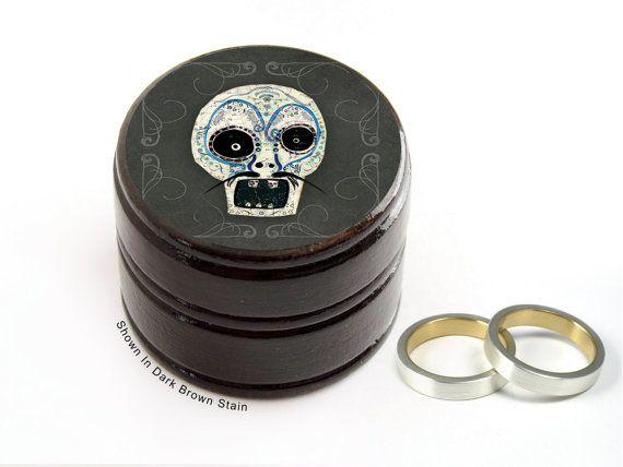 Day of The Dead Sugar Skull Pill Box - Skull Non Toxic Vitamin Box - Sugar Skull Wedding Ring Box - Skull Powder Box