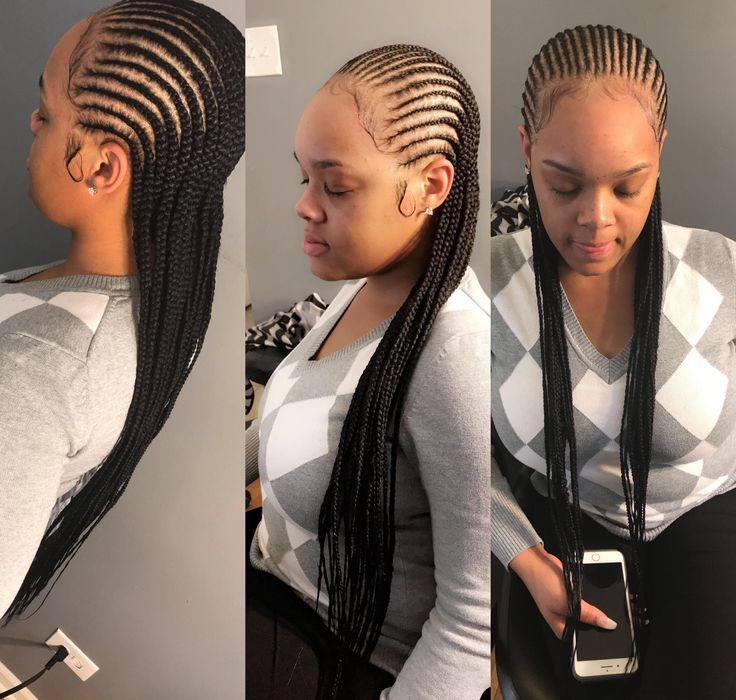 Small feed in cornrows | Braided hairstyles for black ...