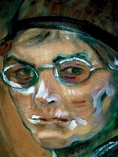 """Self-Portrait"" (close-up) by Emily Carr, Canadian. Her work can be seen on the Landscape board."