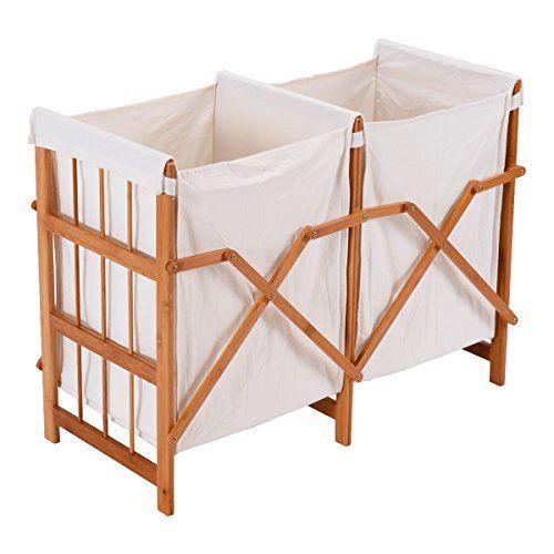 Giantex Double Laundry Hamper Household Folding Bamboo Fr Https