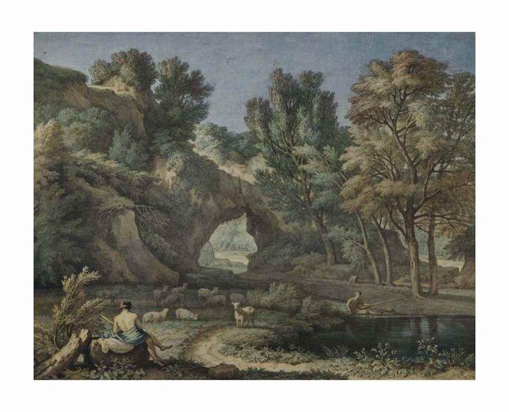 ISAAC DE MOUCHERON (AMSTERDAM 1667-1744)  Paysage arcadien avec un berger au repos et un pêcheur près d'un étang, d'après Gaspard Dughet