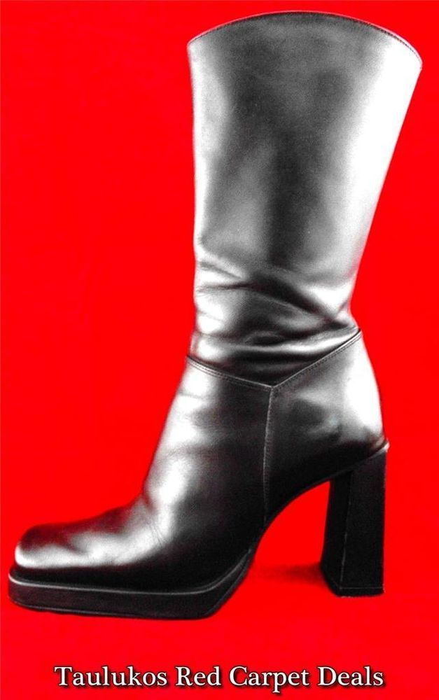 Sexy! #CharlesDavid #Black #LEATHER chelsea #BOOTS #Heels Mid-Calf  #Fashion #KneeHigh Women's #shoes