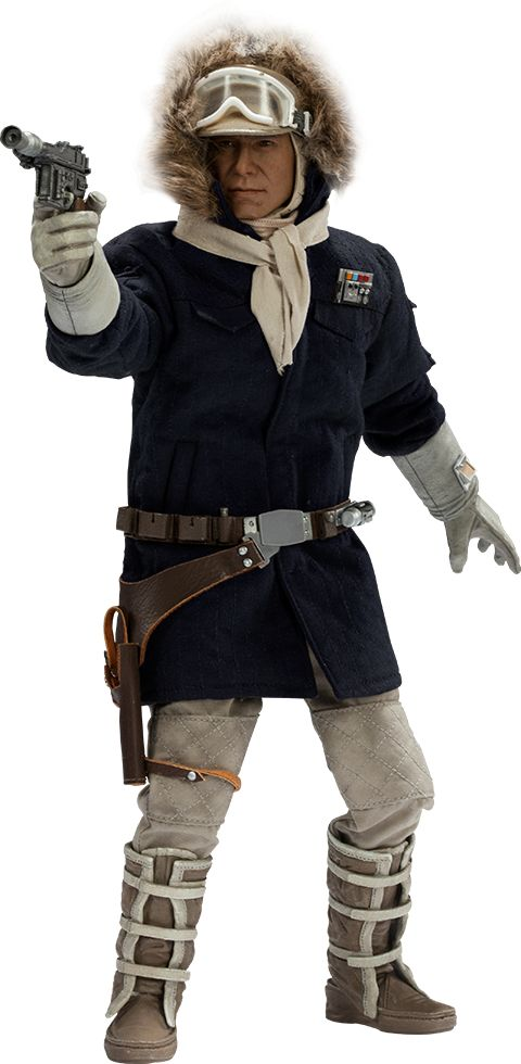 "Sideshow Collectibles Star Wars Captain Han Solo - Hoth Sixth Scale Figure ~ ""Dressed for the planet's notorious sub-zero climate, Solo is fitted in an authentically replicated blue quilted parka, complete w rank insignia & fur-trimmed hood. 2 scarves, cap & goggles & for additional display options, swap in the portrait without headgear, depicting Han as he appears inside the base."" ~ New: $209.99 ~ Release Date: Dec 2014"