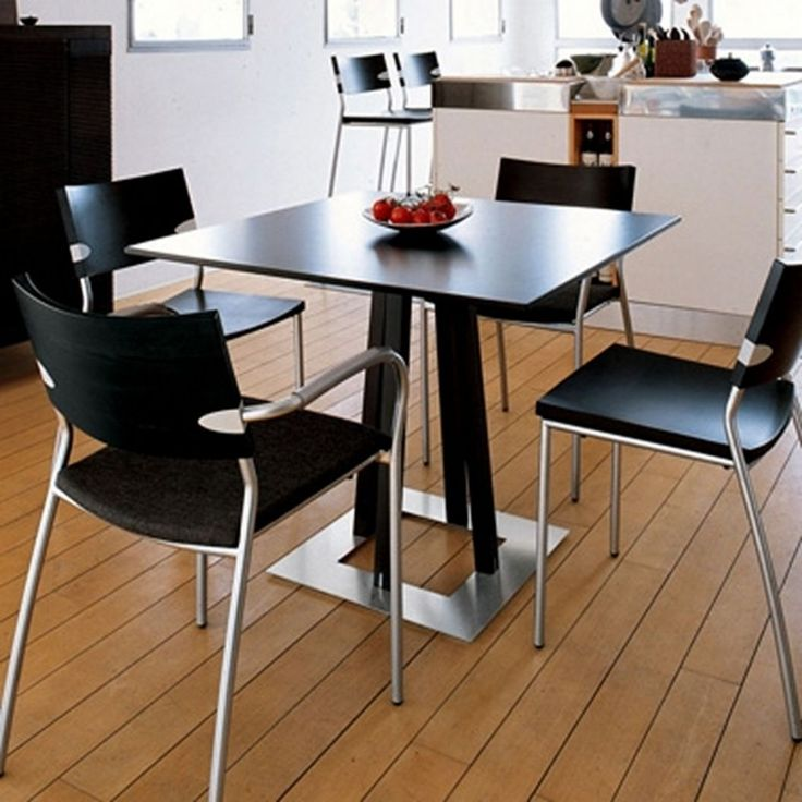 Minimalist Kitchen Design Black Small Dining Tables Sets And Chairs Combined With Open Kitchen Floor Design