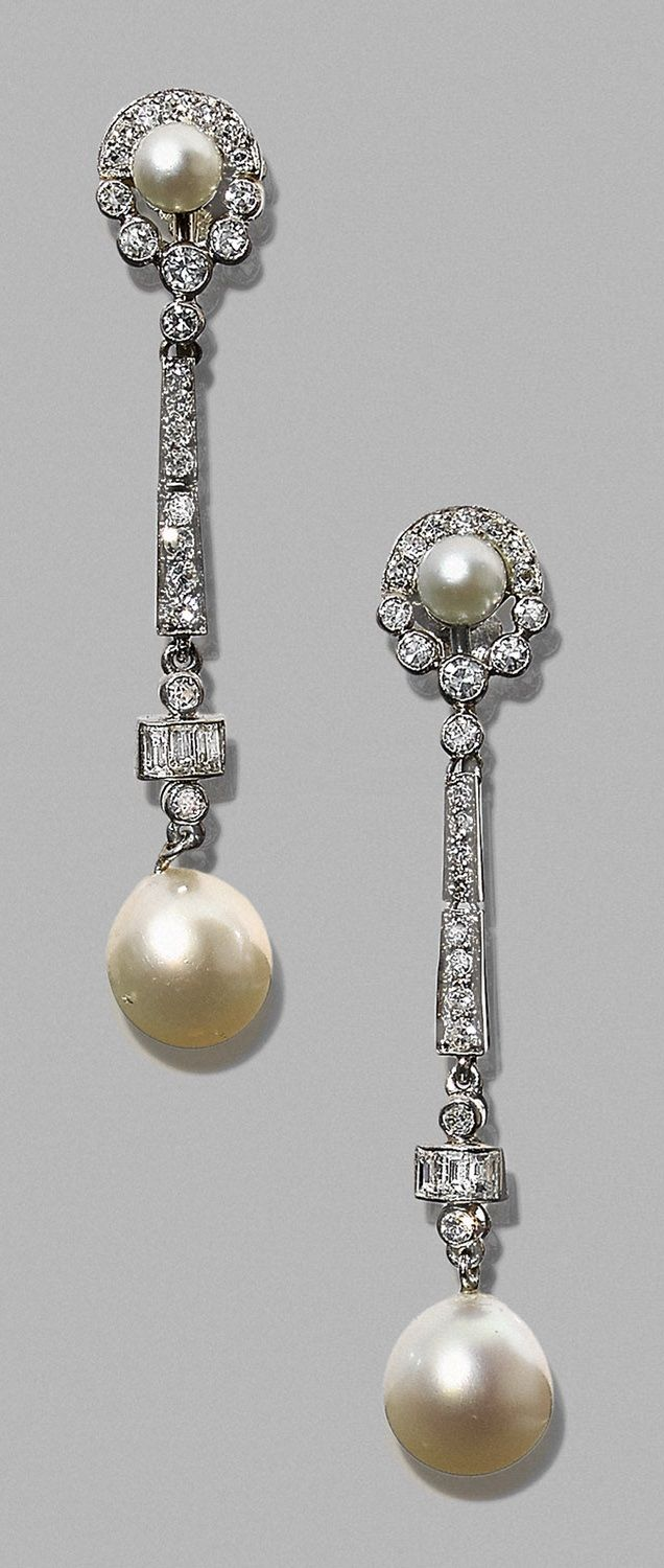 A pair of Art Deco platinum, diamond and pearl earrings, 1930s.