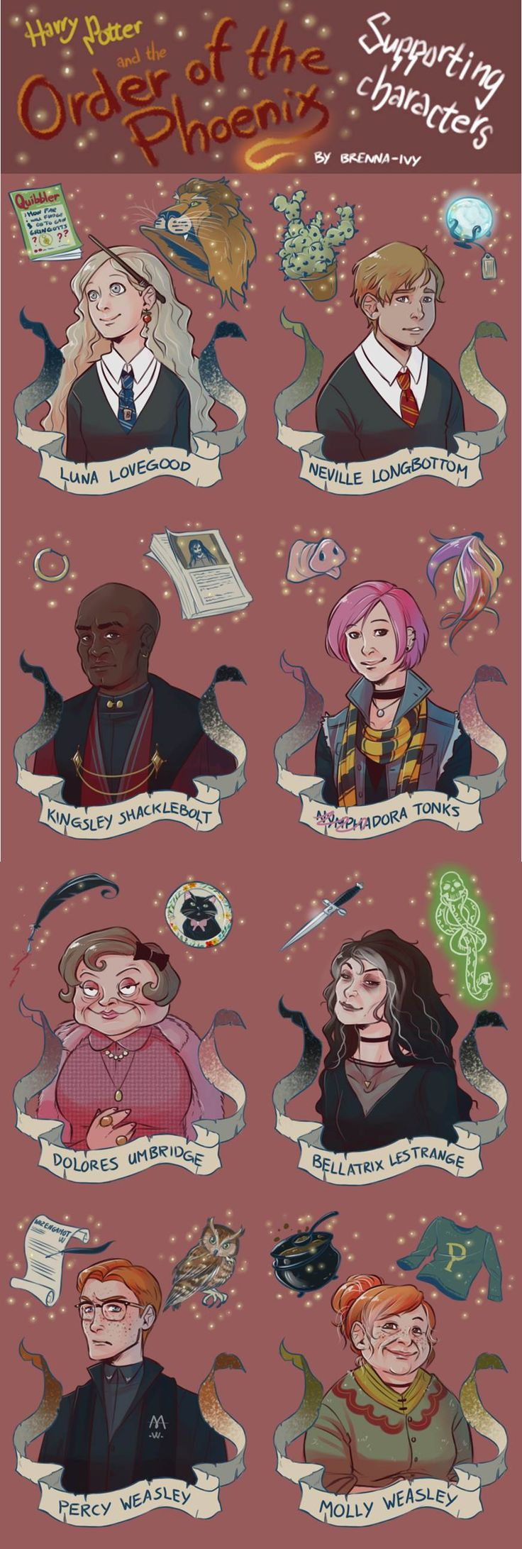 Harry Potter - Luna, Neville, Shacklebolt, Tonks, Umbridge, Bellatrix, Percy and Molly