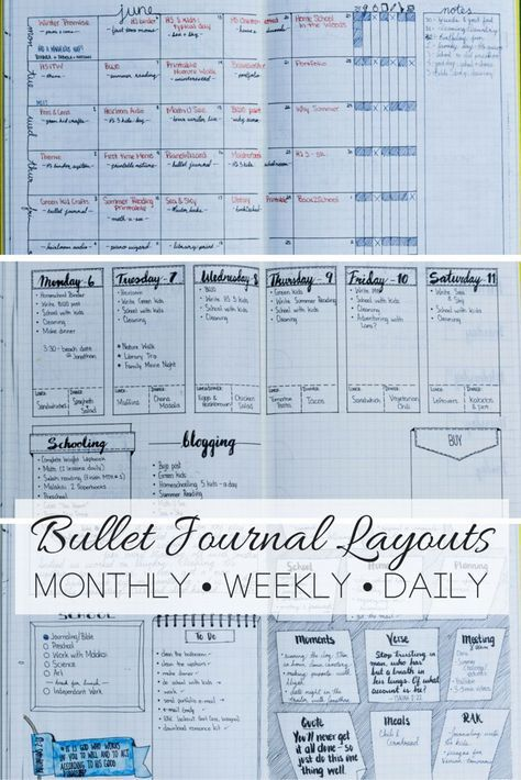 Daily, Weekly, and Monthly Bullet Journal Layout Examples