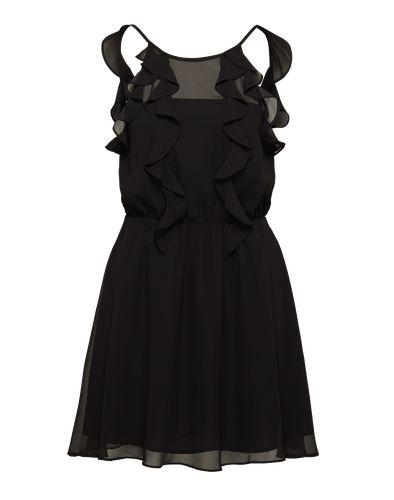 Cocktailkleid von BCBGeneration. Das Minikleid mit der gummierten Taillierung erinnert durch die zarten Spaghettiträger an ein Neckholder-Kleid. Die partielle Transparenz sowie die Rüschen am Saum runden den romantischen Look ab.