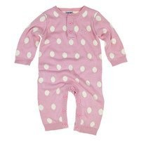 Bamboo Baby Organic knitted baby romper with matching hat in Rose Pink and Polka Dot