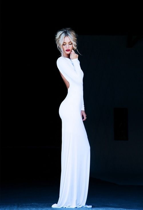 white backless gown and red lips
