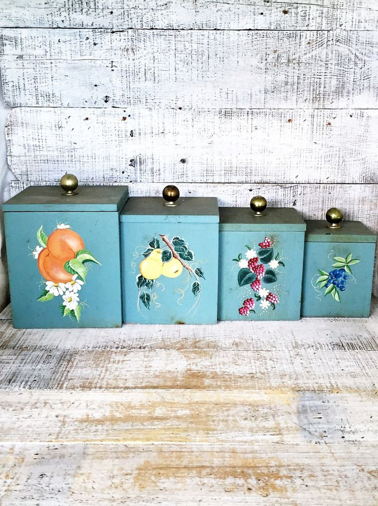 Canisters Wood Canisters Set 4 Kitchen Canisters Vintage Canisters Folk Art  Containers Hand Painted Kitchen Canister Set Floral Pattern