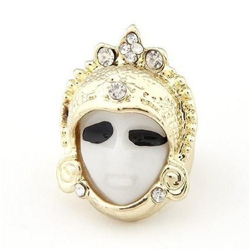 Novel Blinking Rhinestone Ring Finger Ring of Ancient Indian Head Shape
