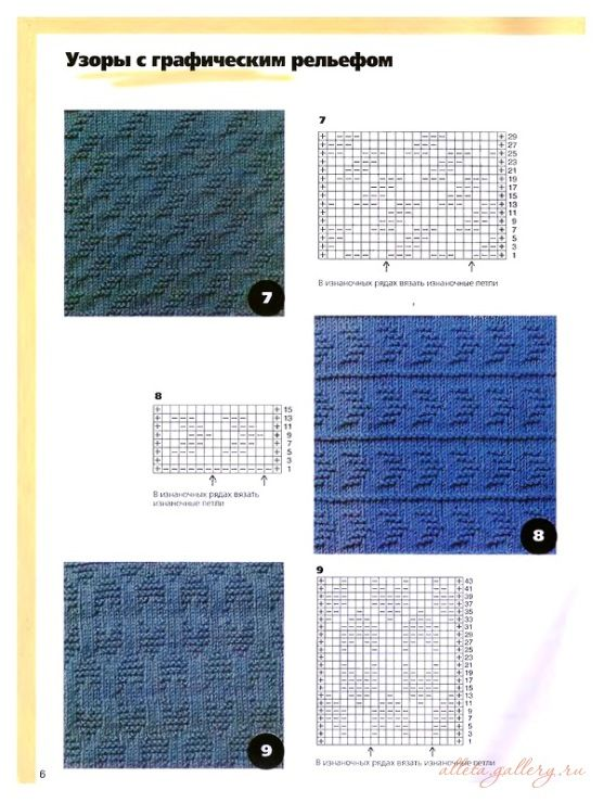 Chevron and diagonal knit and purl stitches. Charted, Russian website