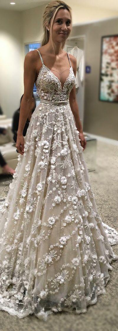 Isn't the embellishment on this @bertabridal dress just the prettiest?