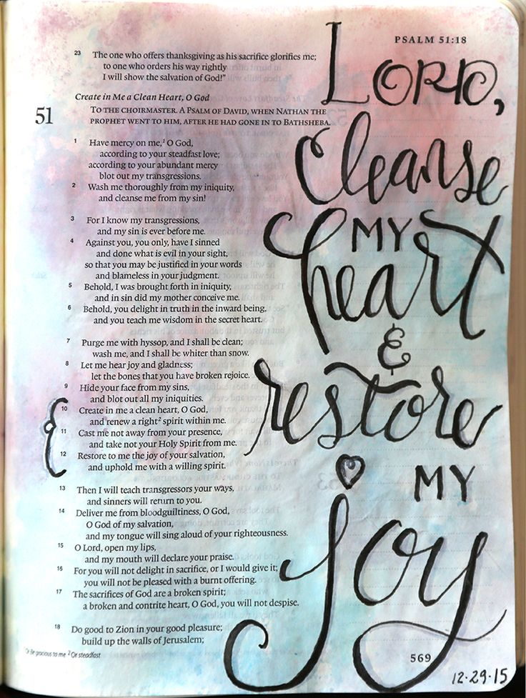 Psalm 51:10, 12 Lord, cleanse my heart & restore my joy. Background - Distress markers & ink pads