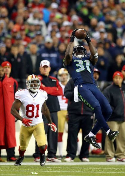 SS Kam Chancellor on a key 4th quarter interception in the NFC Championship game.