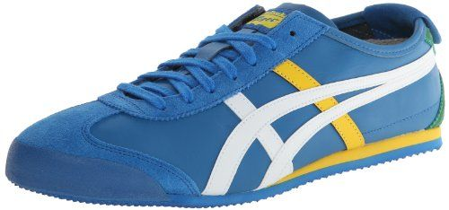 Onitsuka Tiger Mexico 66 Fashion Shoe,Mid Blue/White,8 M US. Rubber sole. Perforated footbed. Leather. Low-profile sneaker with sport-minded overlays. Padded tongue and collar.