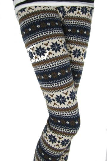 Awesome Cute Spring Outfits Coffee Striped Winter Print Fair Isle Warm Lined #Christmas Tights #2014 #women ...