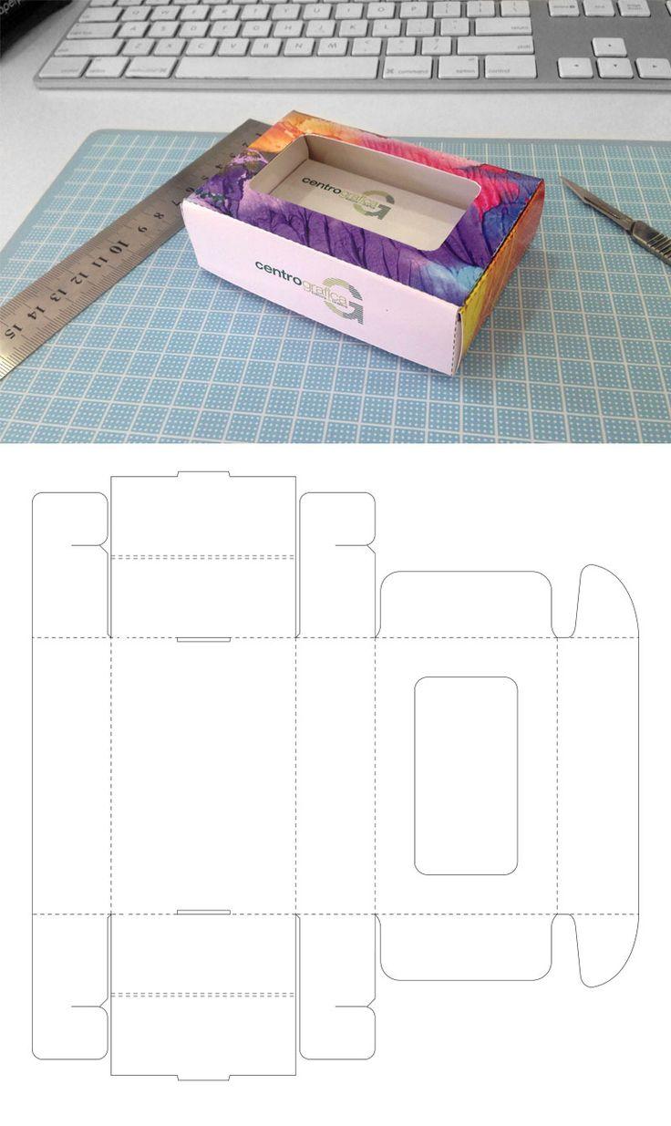 Caixa para cartão de visita com travas de amarra. Maior resistência mesmo com papel de baixa gramatura.