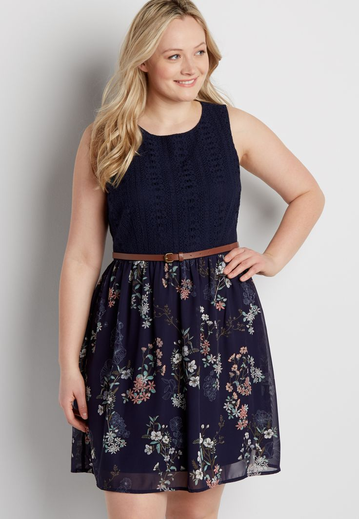 plus size lacy dress with floral skirt (original price, $54.00) available at #Maurices