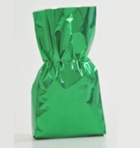 Bolsa de celofan de color verde bandera. Paquetes con 25pzs