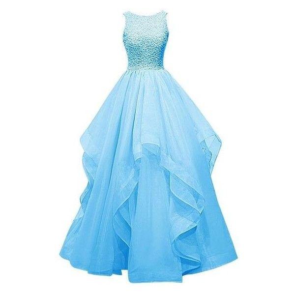 Dresstells Long Prom Dress Asymmetric Bridesmaid Dress Beaded Organza ❤ liked on Polyvore featuring dresses, long blue dress, prom dresses, beaded dress, long cocktail dresses and blue bridesmaid dresses