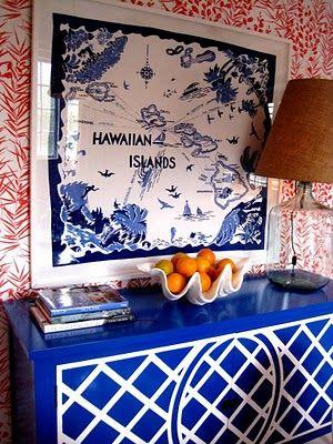 so prettyDecor, Ideas, Beach House, Frames, Colors, Cobalt Blue, Vintage Tablecloth, Chinoiserie Chic, Hawaiian Islands