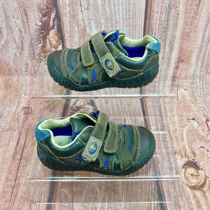 clarks boys stomp claw stomposaurus brown shoes size 8G brown hook & loop kids