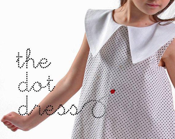 Handmade black polka dot girls dress with white collar by LaLoOLa