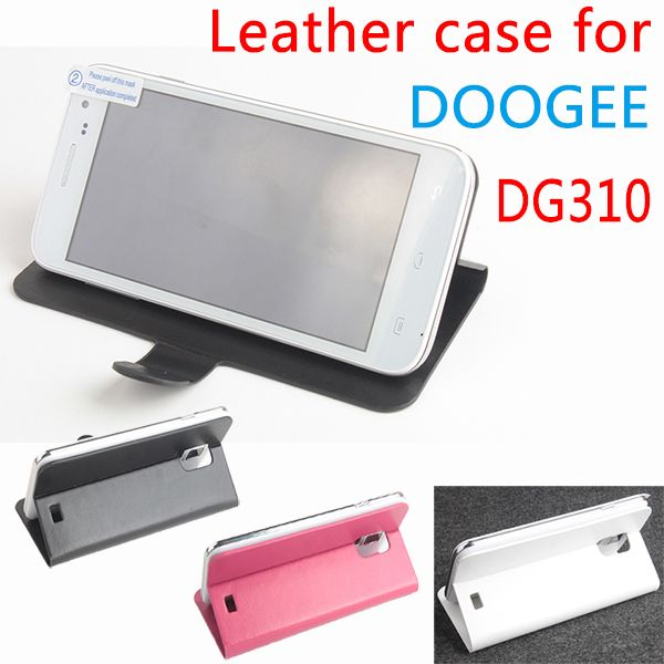 free shipping DOOGEE DG310 case cover, Good Quality Leather Case + hard Back cover For DOOGEE DG 310 cellphone