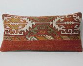 12x24 Accent traditional pillow decorative throw tapestry pillow cover turkish textile pillow case throw kilim rug cushion cover red brown