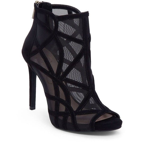Jessica Simpson Rivena Microsuede and Mesh Booties (€110) ❤ liked on Polyvore featuring shoes, boots, ankle booties, black, black caged booties, mesh boots, back zip boots, black boots and back zipper boots
