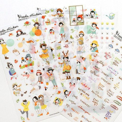 6 Sheets Heeda watercolor girl Sticker Korean Style Cute kawaii planner stickers For Notebook Paper Deoration T79