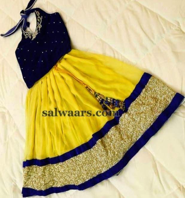 Lemon Yellow Fancy Kids Skirt | Indian Dresses