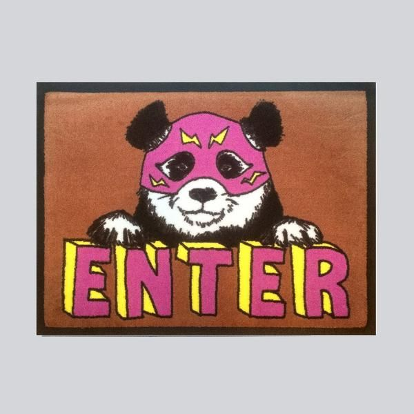 BRAND NEW 'Enter' Wrestling panda door mat design.  Nice bright colours - solution dyed on Nylon45cm x 60cmsRubber backingDust control doormat, slip-resistantM