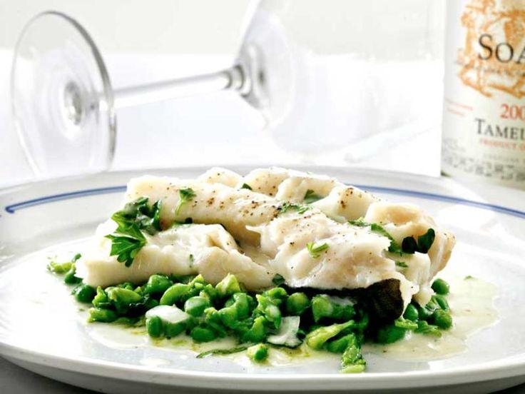 Lettsaltet torsk servert med sennep- og sitronsaus og en ertepuré med ingefær.Kilde: Aftenposten