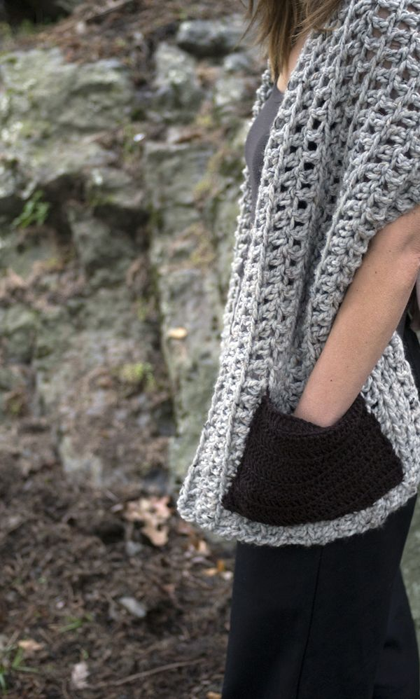 A quick and easy wrap with pockets - crochet this up for you or a friend in no time. Pattern available at kraftling.ca.