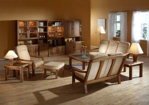 The photo shows: 1240H highback chair w/Comfort 9083 1240AH/2 2-seater high back sofa w/Comfort 9083 1260AH/3  3-seater high back sofa w/Comfort 9083 1240FS footstool 1511A coffee table w/slate top 1511C end table w/slate top 1511H end table w/slate top K3 frederiksborg wall unit combination
