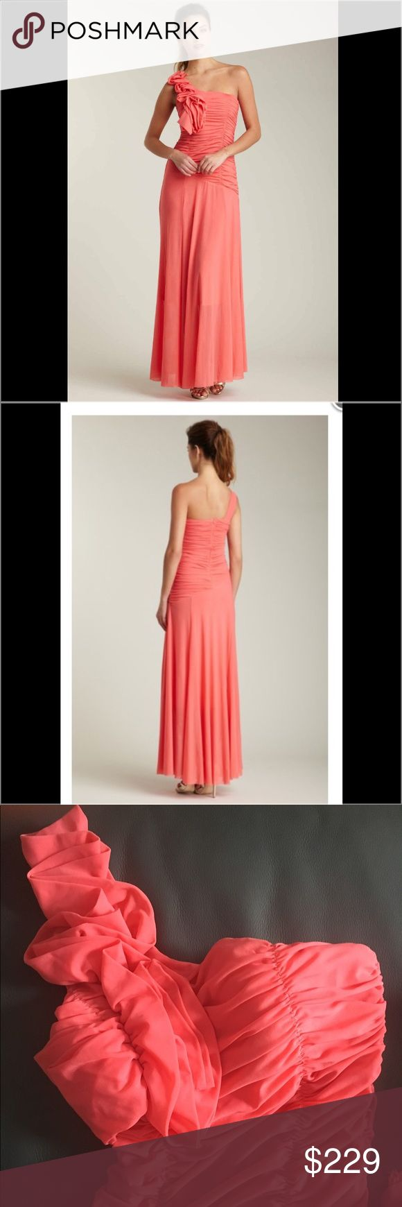Romeo & Juliet Couture One Shoulder Coral Gown Romeo & Juliet Gown One shoulder ruched waist Shoulder designer  Size Small Worn once for College graduation Romeo & Juliet Couture Dresses One Shoulder