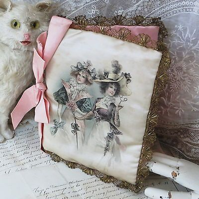 ANTIQUE FRENCH SILK LITHOGRAPH LADIES ROMANCE Hanky Press Victorian Shabby Chic