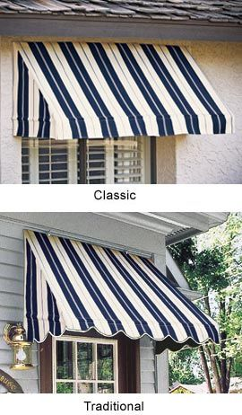 8',6',4' Window Awning Stripe - You can install these in less than 30 minutes!    A triple advantage! As you add instant curb appeal to your home, you'll also protect indoor furnishings from fading and keep your home cooler. Even better, these awnings cost much less than special-order window treatments. Solutions.com -  179.00, 219.00, 279.00