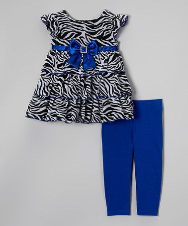 Loving this Blue Zebra Ruffle Tunic & Leggings - Toddler & Girls on #zulily! #zulilyfinds