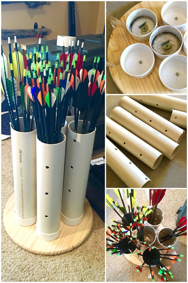 """DIY arrow storage rack using PVC plumbing tube and a wood base. Great way to store your archery gear for under $20, and it's easy to make. We bought a 4"""" x 10' plastic tube, six (6) 4"""" caps, and a circular piece of wood at a hardware store. We cut the tube into six (6) 20"""" pieces, then laid the plastic plumbing lids evenly on the board. After drilling .25"""" holes through the lids and wood base, we simply bolted the lids down and inserted the tube pieces into the lids. We cut up an old towel a"""