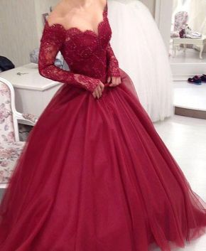 Beautiful Prom Dresses,Long Sleeves Ball Gown Prom Dresses ,Burgundy Lace Prom Dresses,Sexy Wine Red Evening Prom Gowns,Quinceanera Dresses