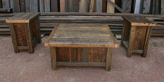 Reclaimed Barnwood Rustic Coffee & End Table Set by EchoPeakDesign, $900.00